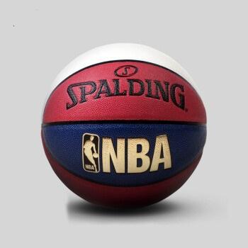 SPALDING 斯伯丁 NBA红白蓝拼色炫彩花球室内室外PU篮球    七号球(标准)   74-655y (红白蓝拼色、7号)