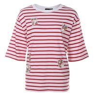 H:CONNECT10185465 女士圆领条纹休闲T恤