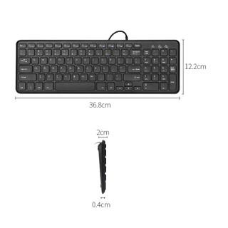 航世(B.O.W)HW156S-A键盘 有线键盘 办公键盘 超薄便携 96键 台式笔记本键盘 静音巧克力按键 黑色 自营