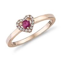 Blue Nile 14k玫瑰金小巧红宝石与钻石密钉心形戒指 3mm