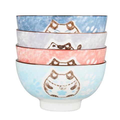 ARST 雅诚德 日式家用招财猫混色碗4个装