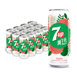 PEPSI 百事 七喜 7UP 莫七托细长罐 汽水碳酸饮料 (330ml*12罐、西柚味)