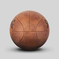 SPALDING 斯伯丁 詹姆士奈史密斯125周年篮球复古PU纪念篮球  76-552 (棕色、7号、76-552)
