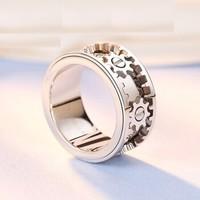 爱朵钻 Aidoz 铂金齿轮戒指男款可转动 时尚个性pt950白金cnc指环 AP7061M