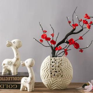 Hoatai Ceramic 华达泰陶瓷 鹿花瓶摆件三件套 傲雪迎春(丁香.红梅)+幸福小鹿