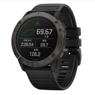 GARMIN 佳明 Fenix6X Pro 户外运动智能手表 F6XDLC钛金太阳能旗舰版 (黑色、硅胶)