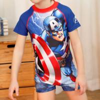 Disney 迪士尼 美国队长儿童泳衣男童连体冲浪服 140      SWF10004A (美国队长、140 、锦纶、连体)