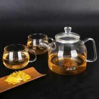明尚德茶具套装 高硼硅玻璃可加热煮茶泡茶壶 家用带过滤网花果茶壶冷凉水壶 简约加厚大容量一壶两杯