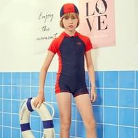 LI-NING 李宁 李宁儿童泳衣套装男童连体短袖泳装冲浪服带泳帽 YSLP002-1 焰红色标准黑 150    YSLP002 (焰红色标准黑、150 、聚酯纤维、连体)