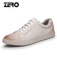 零度男士韩版时尚简约透气潮流户外系带休闲皮鞋 Z91900 米白 39码