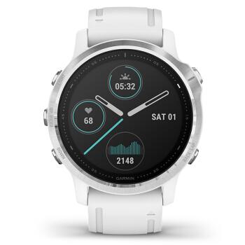 佳明(GARMIN)Fenix6S不锈钢银色表圈白色硅胶表带GPS户外智能手表血氧音乐支付跑步越野GPS导航腕表普通版