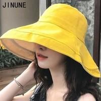 JINUNE 防紫外线双面拼色 大檐渔夫帽