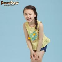 卡通小熊童装夏季款女童无袖印花T恤