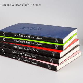 George Willsons 乔先生 智尚五只蜗牛 笔记本 (5本装、黑红蓝粉绿、A5、软面抄、线装式装订)