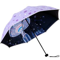 天堂伞 31814E 黑胶三折晴雨伞 紫色 *3件 +凑单品