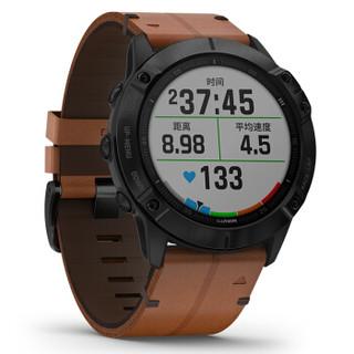 GARMIN 佳明 Fenix6X Pro 户外运动智能手表 (蓝宝石DLC、棕色、皮质)