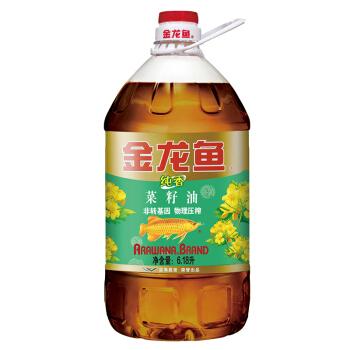金龙鱼 食用油 非转基因 压榨 纯香菜籽油6.18L