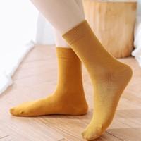 纤馆  纯棉中筒袜 堆堆袜 4双
