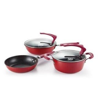 DEBO 贝斯特锅具套装不粘煎炒锅汤锅三件套 红色