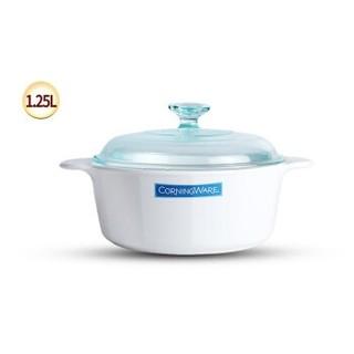 CorningWare 康宁锅 P-12 纯白玻璃锅炖锅 1.25L圆锅 白色