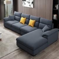 A家家具 现代简约布艺沙发组合 三人位+中位+右贵妃