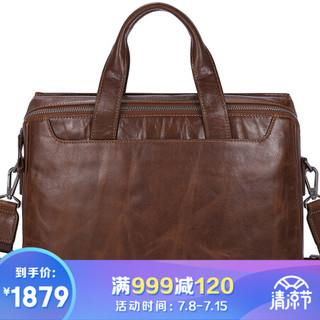 金利来(Goldlion) 公文包商务手提包头层牛皮时尚横款大容量休闲男包 黄棕 FA183020-134
