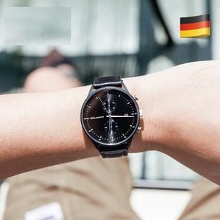 PAUL HEWITT 德国品牌计时码手表男石英表黑色钢带皮带款情侣DW 银色指针/黑色皮带 计时码