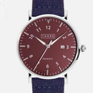 肖勒 THORE男表 超薄手表休闲石英防水 帆布撞色 直径40毫米 Whisky红&深蓝带  1688M3