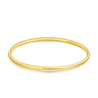 六福珠宝 足金简约光面黄金手镯女款镯子空心 计价 56mm-约9.14克  B01TBGB0042