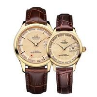 SHANGHAI 上海牌手表 手表 流转系列时光60周年纪念单历自动机械钟表男表情侣对表 金色  X733