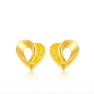 CHOW TAI FOOK 周大福 F161062 小版婚嫁心形 足金黄金耳钉