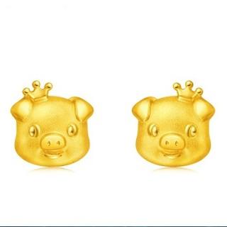 CHOW TAI FOOK 周大福 F210815 十二生肖猪 皇冠猪 足金黄金耳钉