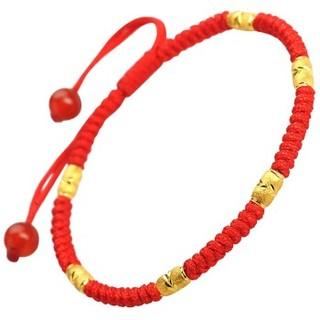 Red Year 红色年轮 足金黄金转运珠红绳手链串珠本命年路路通男女情侣款 113006A2066