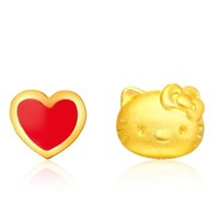CHOW TAI FOOK 周大福 R11765 Hello Kitty凯蒂猫系列 爱心 定价足金黄金耳钉