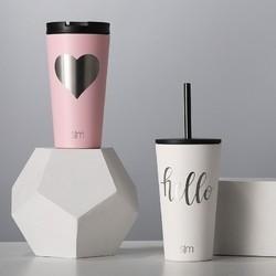 simple modern 双盖保温咖啡杯 情侣对杯 480ml