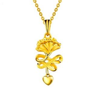 六福珠宝 足金康乃馨黄金吊坠女款链坠不含项链送妈妈 计价 约3.94克  GAG70003