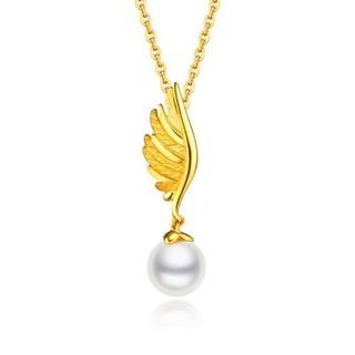 六福珠宝 网络专款足金育翼淡水珍珠黄金吊坠女款链坠不含项链 计价 约1.50克  HXGTBP0002