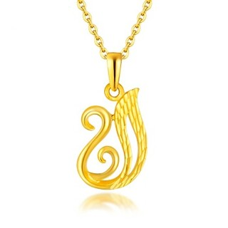 六福珠宝 金饰魅力系列足金天鹅黄金吊坠女款不含项链 计价 约1.40克  GMG70042