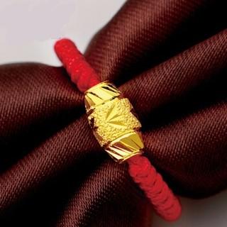 翼盟 黄金戒指999足金情侣转运珠指环饰品 金重约0.22g   YZ058