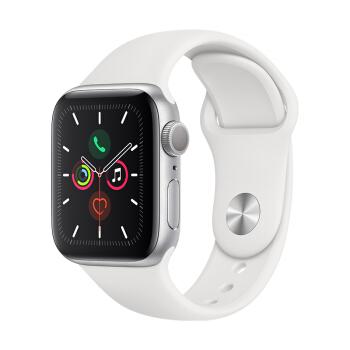 Apple 苹果 Watch Series 5 智能手表 40mm 银色表盘 白色硅胶表带