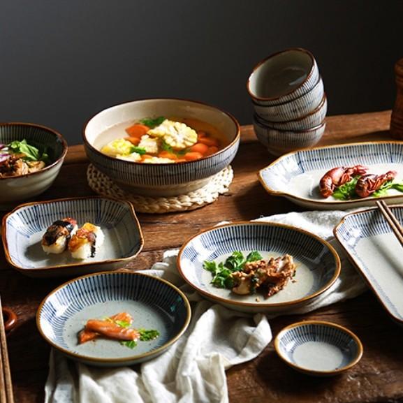 佰润居 和风釉下彩碗碟套装 6件套(饭碗*2+圆盘*2+勺子*2)