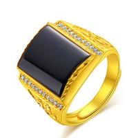 AFFLATUS 欧弗莱 黄金戒指 足金999黑锆石男戒 男士活口戒指 金戒指 男款黄金戒指 黄金戒指
