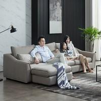 ZUOYOU 左右傢俬 DZY5011 北欧轻奢科技布艺沙发组合 四人位+脚踏