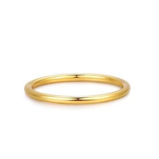 明牌珠宝 足金戒指 足金素圈戒指简约黄金戒指女 足金戒指 20号约2.01克   AFM0110