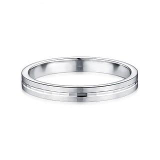 六福珠宝 Pt950永恒真爱铂金戒指情侣结婚对戒款闭口戒   14号-3.15克  女款     F63TBPR0007
