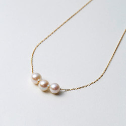 Maria 7mm阿古屋海水珍珠K18金链 三颗珠 42cm