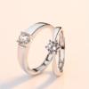 LAOLATU 劳拉图 轻奢品牌925银镀白金求婚戒指情侣对戒男女一对刻字仿真钻戒活口结婚订婚    LLTXFL-1126