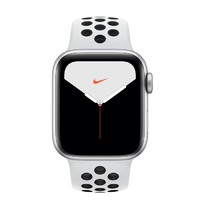 Apple 苹果 Watch Nike Series 5 智能手表 (44 mm、银色铝金属表壳、白金配黑色Nike 运动表带、GPS)