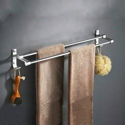 百圣 免打孔浴巾架 双杆 57cm