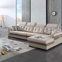 QuanU 全友 現代簡約布藝家居沙發 可拆洗設計 實木框架沙發組合 102105 布皮沙發(1+3+轉) 正向